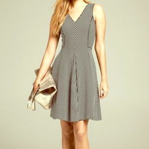Piped Mixed-Stripe Fit-and-Flare Dress Size 4P